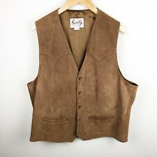 Scully Western Leather Button Vest Brown 48
