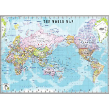 NEW LARGE MAP OF THE WORLD POSTER 110 x 75 cm FLAGS WALL DECOR Print Brand