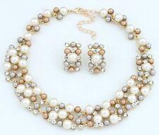 Crystal Women Bib Chain Choker Collar Statement Pearl Necklace Set Earrings
