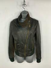 WOMENS FIRETRAP BLACK LEATHER BROWN SLEEVE CASUAL ZIP BIKER JACKET COAT SIZE S