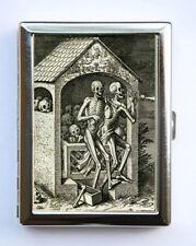 Skeletons Dancing Cigarette Case Wallet Business Card Holder Vintage Art Etching