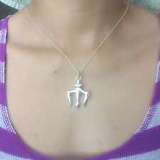 Percy Jackson inspired Silver Trident Charm with Stainless Steel Chain Necklace.