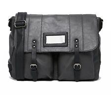 Mens Grey Laptop Bag Briefcase Messenger Work Office Faux Leather Shoulder Bag