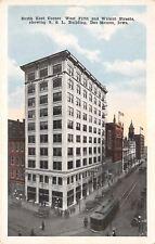 Des Moines Iowa~S & L Building~SE Corner~5th & Walnut~Trolley~Razed~1916 PC