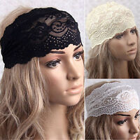 FT- Amazing Women Yoga Lace Hollow Head Wrap Wide Headband Flower Hairband Hair