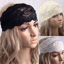 Amazing Women Yoga Lace Hollow Head Wrap Wide Headband Flower Hairband Hair Band