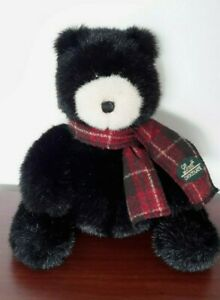 Vintage Gund Lindt Chocolate Stuffed Blk. Bear Plaid Scarf Excellent Gently Used