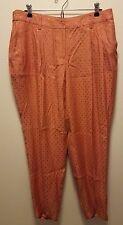 chicos orange square pants 2 Large rayon pleated dress pants retro vintage style