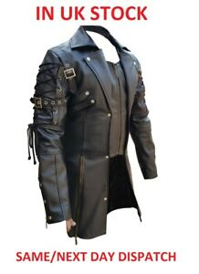 Men Faux Leather Goth Matrix Trench Steampunk Gothic Style Coat PU-T18