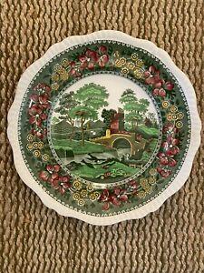Old Copeland Spode's Tower England Green Dinner Plate Rare