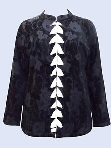 ULLA POPKEN BLACK Velvet Jacquard Satin Embellished Jacket UK Sizes 20 to 42