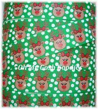 7/8  GLITTER GREEN POLKA DOT REINDEER CHRISTMAS GROSGRAIN RIBBON 4 HAIRBOW BOW