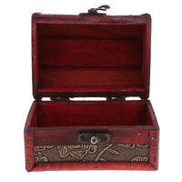 Retro Wooden Jewelry Storage Box Treasure Chest Organizer Home Decor 12x8cm