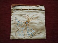Vintage (Antique?) Embroidered Gold Satin Drawstring Bag