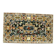 """28""""x55"""" Marble Dining Table Top Pietra Dura Inlay Art Furniture Decorative B348A"""