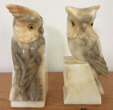 Pair Vintage Carved Italian Alabaster Marble Owl Cockatoo Parrots Birds Bookends