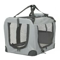 Soft Travel Carrier Pet Cat Dog Bag Sided Portable Folding Puppy Tote Crate Grey