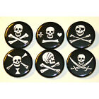 PIRATE JOLLY ROGER SKULLS Set of 6 BADGES Buttons Pins Lot