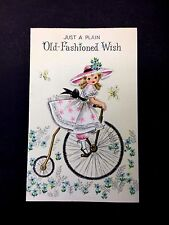 Vintage Birthday Greeting Card Cute Little Girl with a Snappy Hat on a Bicycle
