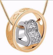 Cadena Collar Colgante de corazón de diamantes de imitación de cristal chapado en oro 14K Regalo Día De Las Madres