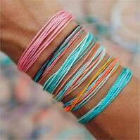 6Pcs/Set Multicolor String Cord Strap Handmade Woven Braided Ethnic Bracelet
