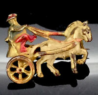 ANTIQUE ADORABLE BROOCH PIN SMALL PAINTED SMALL HORSE CHARIOT COSTUME DAINTY