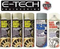 E-Tech 3x GOLD PAINT 1x LACQUER 1x ETCH PRIMER Car Alloy Wheel Spray Paint 400ml