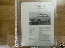 PE08-PEUGEOT 204 SEDAN EN STATIONCAR 1965-1966 -INFO TECHNICAL OLDTIMER