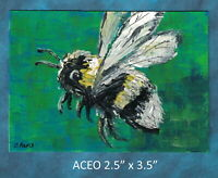 Original ACEO - Bumblebee- miniature acrylic painting, not framed