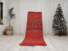 "Moroccan Vintage Antique Handmade Wool Rug 2'6""x7'8""  Red Bohemian Tribal Carpet"