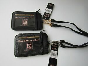 Stone Mountain Black Genuine Leather Convertible ID Wallet Lanyard NWT $30