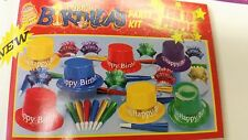 HAPPY BIRTHDAY PARTY KIT PLASTIC HATS/TIARAS/HORNS ((KIT FOR TEN PEOPLE/KIDS))