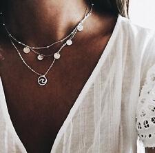 Chain Necklace Boho Women Multi-layer Round Circle Pendant Silver Jewelry Gift