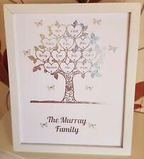Personalised Handmade Family Tree Framed Gift Grandchildren Mothers Day Wedding
