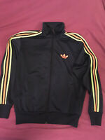 Vintage Adidas Men's Track Jacket  Trefoil Navy Blue Orange Neon Green Size M