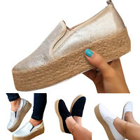 Women Platform Sneakers Espadrilles Pumps High Wedge Slip On Loafers Shoes Sizes