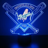 Los Angeles Dodgers Night Light Lamp Personalized Name FREE Light LED Lamp Gift