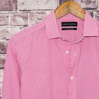 RALPH LAUREN Black Label Tailored Fit Dress Shirt Pink Mini Gingham Sz 15 Italy