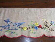 ANCIENNE CANTONNIÈRE lin brodé 22,5x156cm Old linen valance / Guardamalleta lino