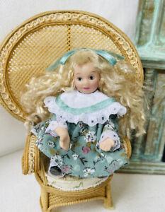 "Adorable 3"" Miniature Doll Porcelain Sitting Girl Dollhouse by Mystery Artisan"