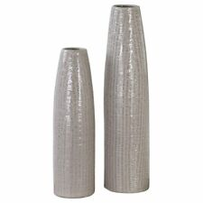 Uttermost Sara 2 Piece Vase Set in Textured Taupe and Brown