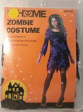 Zombie Sexy Woman Flame Cut Purple Dress Costume