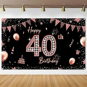 Rose Gold 40th Birthday Party Decorations Supplies 40th Party Banner Backdrop...