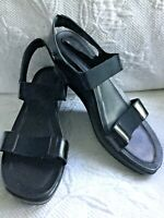 DANSKO ANTOINETTE  41 Black Patent Leather Platform PullOn Wedge Heel Sandals