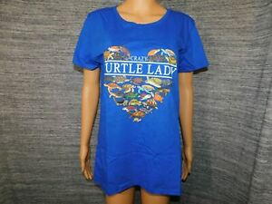 Crazy Turtle Lady Inspired Short Sleeve T-Shirt Blue Ladies Large