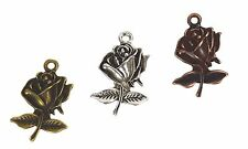 Antiqued Vintage Style Rose Charms Pewter Jewelry Making Findings 3 Bundle Pack