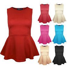 Womens Plain Party Peplum Top In Red Cream Black Ladies Brand New Sz 8-14