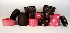 GROSGRAIN PINK AND BROWN HUNTING/TRACTORS RIBBON LOT FOR BOWS 10 YDS
