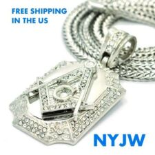 "ICED OUT RHODIUM PT. FREE MASON MASONIC PENDANT WITH 36"" FRANCO CHAIN KC3249RH"