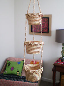 3 Tier Natural Wicker Sea Grass HANGING FRUIT Plant BASKETS Free Up Countertop